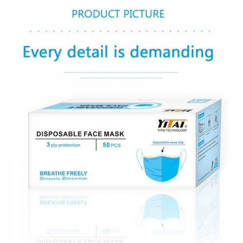 3 Ply Disposable Face Masks Adjustable Nose Clip