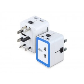 WorldSIM World Travel adapter plug mains with 2 USB Port