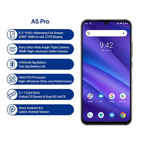 A5 Pro 4G Dual SIM Phone System Specifications