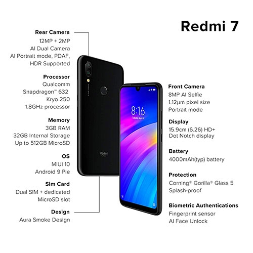 Xiaomi Redmi 7 16GB Dual Sim Phone