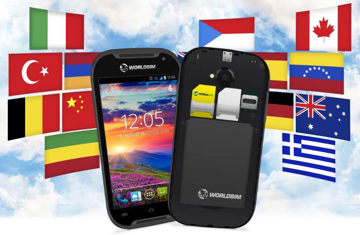 dual sim phone with worldwide flags